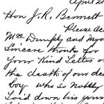 Letter– A letter from the father of Tom Dunphy, killed in action on Mar 2, 1917, to the Colonial Secretary of Newfoundland, J.R. Bennett, thanking him for his note of sympathy.