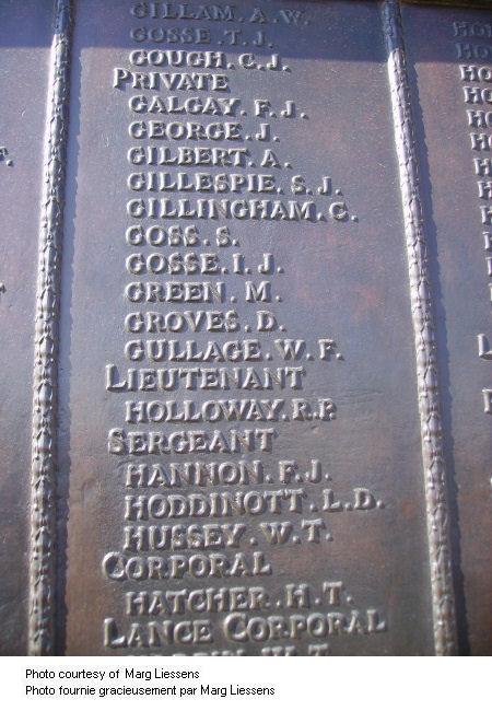Inscription sur le Mémorial de Beaumont-Hamel
