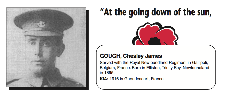 "Biography– In memory of the men and women from Newfoundland who went away to war and did not come home. From the Newfoundland Legion magazine ""Lest We Forget"". Submitted for the project, Operation Picture Me"