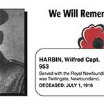 """Photo of WILFRED HARBIN– In memory of the men and women from Newfoundland who went away to war and did not come home. From the Newfoundland Legion magazine """"Lest We Forget"""". Submitted for the project, Operation Picture Me"""