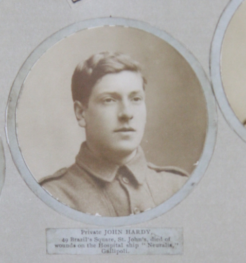 Photo of JOHN HARDY– In memory of the men and women from Newfoundland who went away to war and did not come home. From the  Rooms Archives and Museum St Johns Newfoundland. Submitted for the project, Operation Picture Me