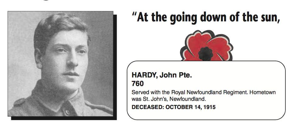 """Biography– In memory of the men and women from Newfoundland who went away to war and did not come home. From the Newfoundland Legion magazine """"Lest We Forget"""". Submitted for the project, Operation Picture Me"""