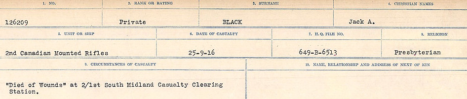 Circumstances of Death Registers– Source: Library and Archives Canada.  CIRCUMSTANCES OF DEATH REGISTERS FIRST WORLD WAR Surnames: Birch to Blakstad. Mircoform Sequence 10; Volume Number 31829_B034746; Reference RG150, 1992-93/314, 154 Page 361 of 734