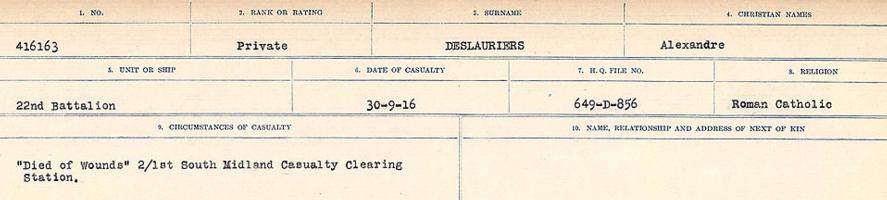 Circumstances of death registers– Source: Library and Archives Canada. CIRCUMSTANCES OF DEATH REGISTERS, FIRST WORLD WAR. Surnames: Davy to Detro. Microform Sequence 27; Volume Number 31829_B016736. Reference RG150, 1992-93/314, 171. Page 979 of 1036.
