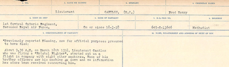 Circumstances of Death Registers– Source: Library and Archives Canada.  CIRCUMSTANCES OF DEATH REGISTERS, FIRST WORLD WAR Surnames:  Canavan to Caswell. Microform Sequence 18; Volume Number 31829_B016727. Reference RG150, 1992-93/314, 162.  Page 81 of 1004.