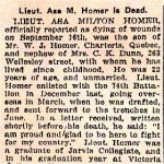 Newspaper Clipping 2– Article appeared in the Toronto Star.  Lt. Horner's surname was not spelled correctly.