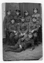Group Photo– A photograph taken in the Fall of 1915 of N.C.O's of the 3rd (Toronto Regiment) Battalion near Ploegsteert Woods, Belgium. Company Sergeant Major Francis Knight, MM #9459 is the man sitting in the middle row left side with his friends.  From the Bob Richardson Collection