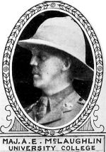 Photo of Arthur McLaughlin– From: The Varsity Magazine Supplement Fourth Edition 1918 published by The Students Administrative Council, University of Toronto.   Submitted for the Soldiers' Tower Committee, University of Toronto, by Operation Picture Me.