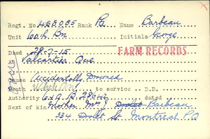 Circumstance of Death Card– Pte. George Barbeau (Canadian Expeditionary Force) drowns on July 28, 1915. Age: 21 http://www.collectionscanada.gc.ca/microform-digitization/006003-119.01-e.php?q2=36&q3=2844&sqn=1079&tt=1413&PHPSESSID=tng5c576cr5s20ibki7p4onp47 #OnThisDay