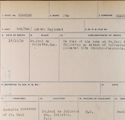 """Circumstances of death registers– Germain Beaudry is reported to have died at his home at St. Paul de Joliette on 17 October 1918. His name is currently in the Canadian Book of Remembrance pending details of his burial location. The casualty report notes that he was buried in the family plot in the Roman Catholic Cemetery of St. Paul de Joliette. The grave may not be marked. We have yet to determine the significance of the Grave Numbers, such as that reported as """"C-4479""""."""