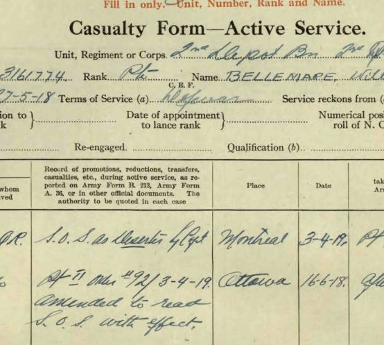 Circumstances of death registers– Private Bellemare was initially S.O.S. (Struck Off Strength) as a deserter April 3, 1919. That proved to be incorrect, as his lack of appearance was due to his death on November 6, 1918.
