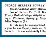 """Honour Roll– From the """"University of Toronto / Roll of Service 1914-1918"""", published in 1921.  Please note that this record says he has no known grave location, but this biography says he is buried in Kitchener, Ontario."""