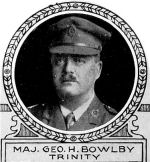 Photo of George Bowlby– From: The Varsity Magazine Supplement Fourth Edition 1918 published by The Students Administrative Council, University of Toronto.   Submitted for the Soldiers' Tower Committee, University of Toronto, by Operation Picture Me.