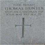 """Grave Marker– Grave of 76236 Pvt. Thomas Hunter who served with the 29th Battn. C.E.F. (Tobins Tigers) Born in Mayhole Scotland on Dec. 10th 1885.  Thomas enlisted into the C.E.F. at Vancouver BC on Nov. 13th 1914, he listed his occupation as """"Motor Driver""""  Thomas died May 10th 1915 at the age of 29.  He was laid to rest in the Mountain View cemetery of Vancouver BC."""