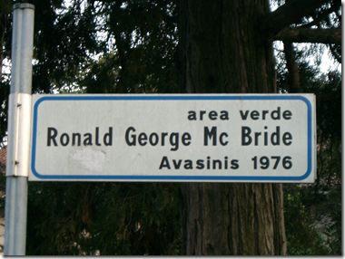 Memorial– Garden green area dedicated to Captain Ronald Mc Bride located in Udine Italy