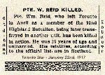 Newspaper Clipping– Pte. Reid enlisted in the 92nd Battalion (Highlanders) in Toronto on September 20th, 1915.