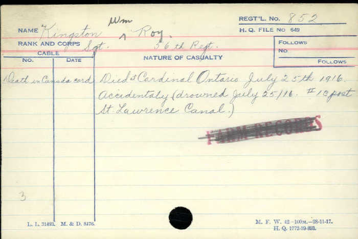 Letter– Sgt Kingston is one of many Canadians who died, July 25 1916, protecting Canada's canals  http://www.collectionscanada.gc.ca/microform-digitization/006003-119.01-e.php?q2=36&q3=2889&sqn=311&tt=1346&PHPSESSID=tl1u1gm6l8di008ku5183r7163