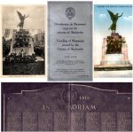 Sherbrooke Monument– Cover of the original program distributed at the unveiling of the Sherbrooke WWI memorial on November 7th, 1926, and two images of the monument.   The monument was designed by Mr. G. W. Hill of Montreal, Quebec with bronze figures cast in Belgium and granite from the Stanstead district.  The bronze Memorial tablet lists 249 names.