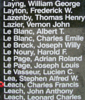 Memorial– Flight Sergeant Charles Francis Leach is also commemorated on the Bomber Command Memorial Wall in Nanton, AB … photo courtesy of Marg Liessens