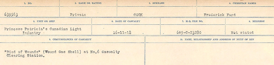 Circumstances of Death– Source: Library and Archives Canada.  CIRCUMSTANCES OF DEATH REGISTERS, FIRST WORLD WAR Surnames:  CONNON TO CORBETT.  Microform Sequence 22; Volume Number 31829_B016731. Reference RG150, 1992-93/314, 166.  Page 221 of 818. His body was originally buried in Montigny British Cemetery 3 ¾ miles East of Douai. His body, and those of all soldiers buried there, were exhumed sometime after February 1919 and re-interred in Auberchicourt British Cemetery.