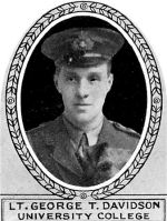 Photo of George Davidson– From: The Varsity Magazine Supplement Fourth Edition 1918 published by The Students Administrative Council, University of Toronto.   Submitted for the Soldiers' Tower Committee, University of Toronto, by Operation Picture Me.