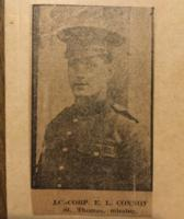Newspaper Clipping– Pictures of Eugene Leo Connor exist at the Elgin Military Museum in St Thomas, Ontario