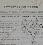 Attestation Paper (front)– Second Lieutenant Edmund De Wind enlisted at Edmonton, Alberta, on November 16, 1914.