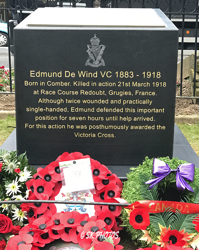 Memorial– A new Memorial to Second Lieutenant Edmund De Wind (VC), was unveiled on March 21, 2018 in Comber, Northern Ireland, on the centenary of his death.