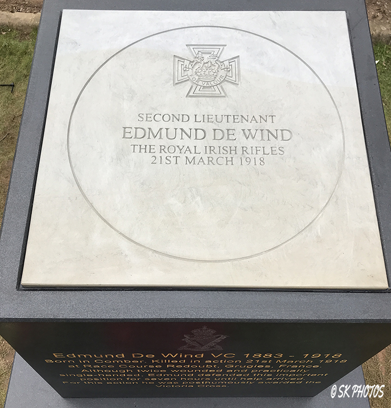 Memorial– A new Memorial to Second Lieutenant Edmund De Wind VC, was unveiled on March 21, 2018 in Comber, Northern Ireland, on the centenary of his death.