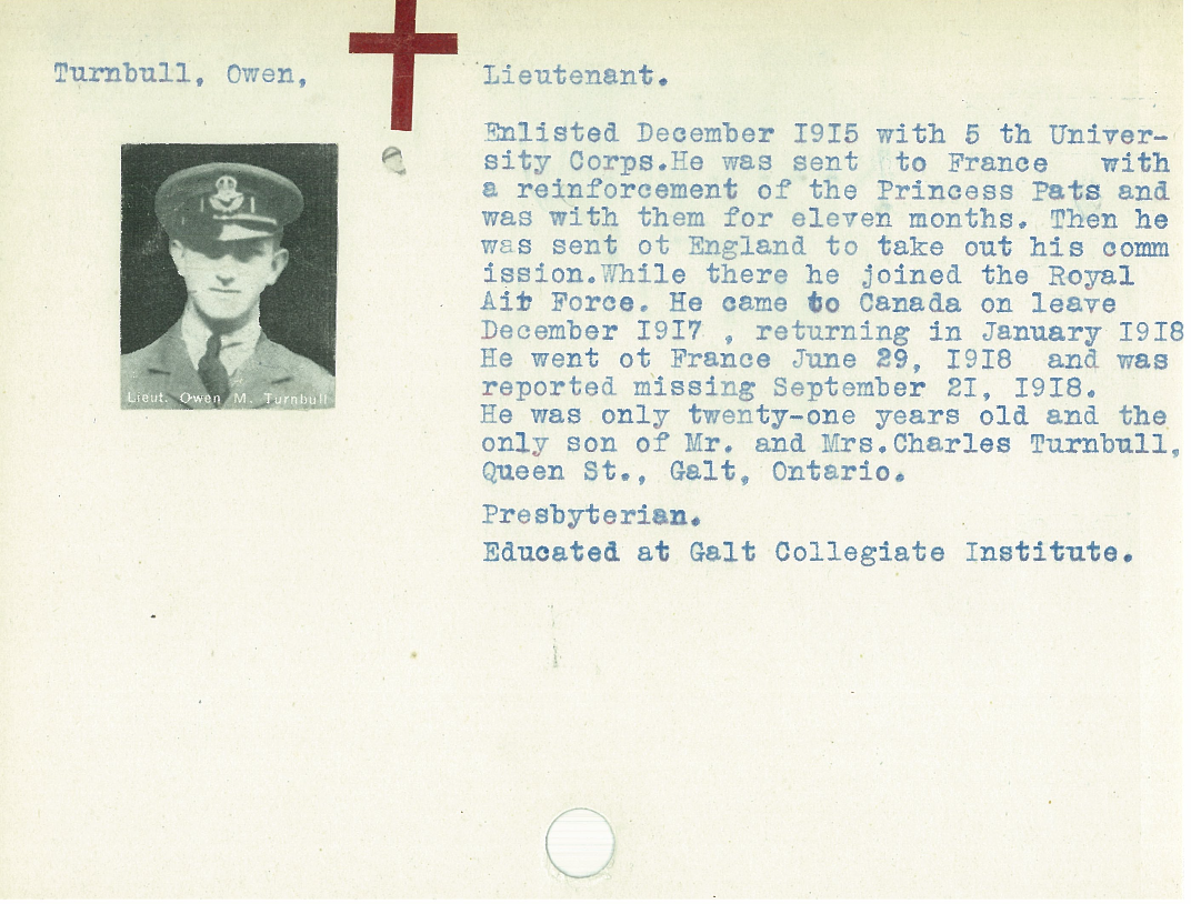 Biography– From the Kitchener Public Library collection of World War One Soldier Information Cards. Submitted for the project Operation Picture Me