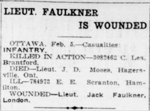 Newspaper clipping– From the London Free Press February 1919......Submitted for the project Operation Picture Me