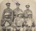 """Postcard– """"A"""" Company Subalterns, 107 Batt'n CEF. Lt. Moses is no. 6. Lt. O.M. Martin, also from Six Nations, is no. 1. Photo dated 29 July 1917, prior to Lt. Moses & Lt. Martin transfer to the RAF."""