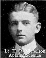 Photo of Harry Nicholson– From: The Varsity Magazine Supplement published by The Students Administrative Council, University of Toronto 1916.   Submitted for the Soldiers' Tower Committee, University of Toronto, by Operation Picture Me.