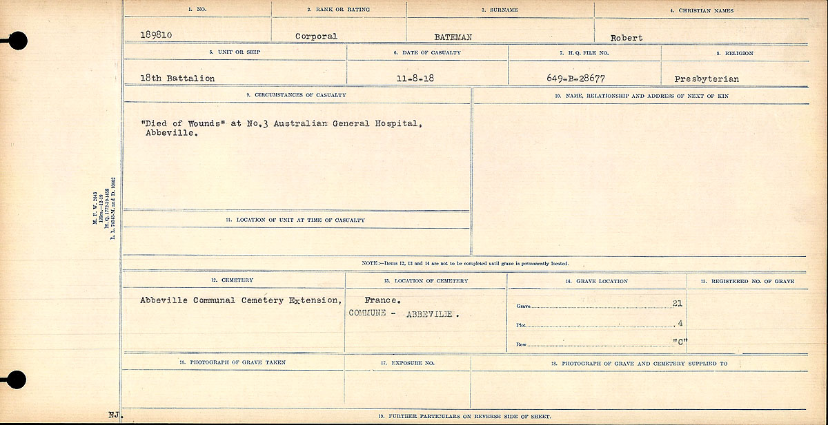 "Circumstances of Death Registers– ""Died of Wounds"" at No. 3 Australian General Hospital, Abbeville."