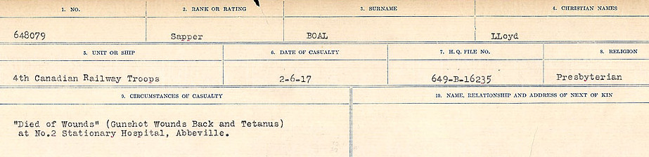Circumstances of Death Registers– Source:  Library and Archives Canada.  CIRCUMSTANCES OF DEATH REGISTERS FIRST WORLD WAR Surnames: Blampie to Booth; Mircoform Sequence 11; Volume Number 131829_B016720; Reference RG150, 1992-93/314, 155 Page 309 of 762
