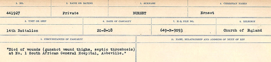 Circumstances of Death Registers– Source: Library and Archives Canada.  CIRCUMSTANCES OF DEATH REGISTERS, FIRST WORLD WAR Surnames:  Burbank to Bytheway. Microform Sequence 16; Volume Number 31829_B016725. Reference RG150, 1992-93/314, 160.  Page 265 of 926.