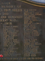 Cenotaph– Private Ernest Burnet is also commemorated on the WWI cenotaph in Orillia, ON … photo courtesy of Marg Liessens