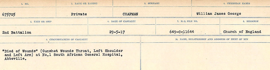 Circumstances of Death Registers– Source: Library and Archives Canada.  CIRCUMSTANCES OF DEATH REGISTERS, FIRST WORLD WAR Surnames:  CATCHPOLE TO CHIGNELL. Microform Sequence 19; Volume Number 31829_B016728. Reference RG150, 1992-93/314, 165. Page 615 of 958.