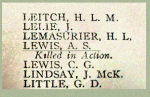 Name on the Roll of Honour– Detail of Lt. Arthur Starkey Lewis' name on the Merchants Bank of Canada 1914 - 1918 Roll of Honour.
