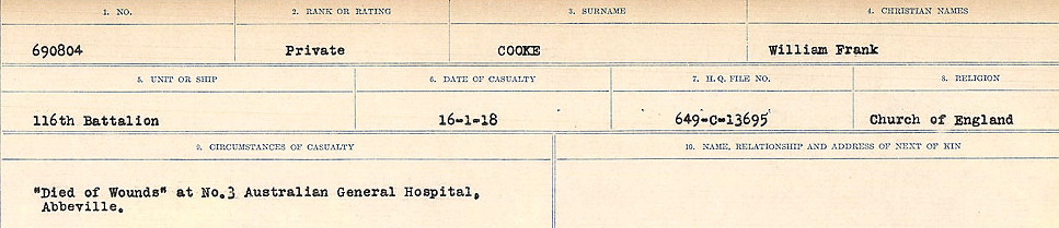 Circumstances of Death Registers– Source: Library and Archives Canada.  CIRCUMSTANCES OF DEATH REGISTERS, FIRST WORLD WAR Surnames:  CONNON TO CORBETT.  Microform Sequence 22; Volume Number 31829_B016731. Reference RG150, 1992-93/314, 166.  Page 411 of 818.