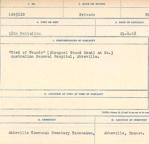 """Circumstances of death registers– """"Died of Wounds"""" (Shrapnel Wound Head) at no. 3 Australian General Hospital, Abbeville. Contributed by E.Edwards www.18thbattalioncef.wordpress.com"""