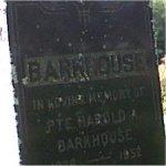 Grave marker– Gravemarker of Private Harold Arthur Barkhouse, Church Point Cemetary. Sheet Harbour, Nova Scotia