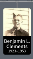 Photo of Bennie Clements– My Namesake, Great Uncle Bennie Clements.  Our Family is honoured by your service and sacrifice.  You are home with us in our hearts always!