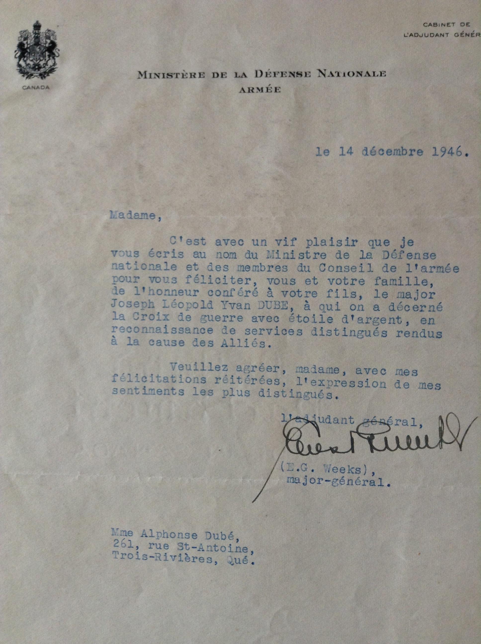 Lettre (14 décembre 1946)