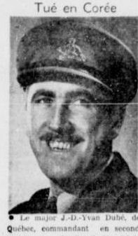 Newspaper clipping– Major Yvan Dubé, second in comand of the Royal 22e Regiment in Korea, was