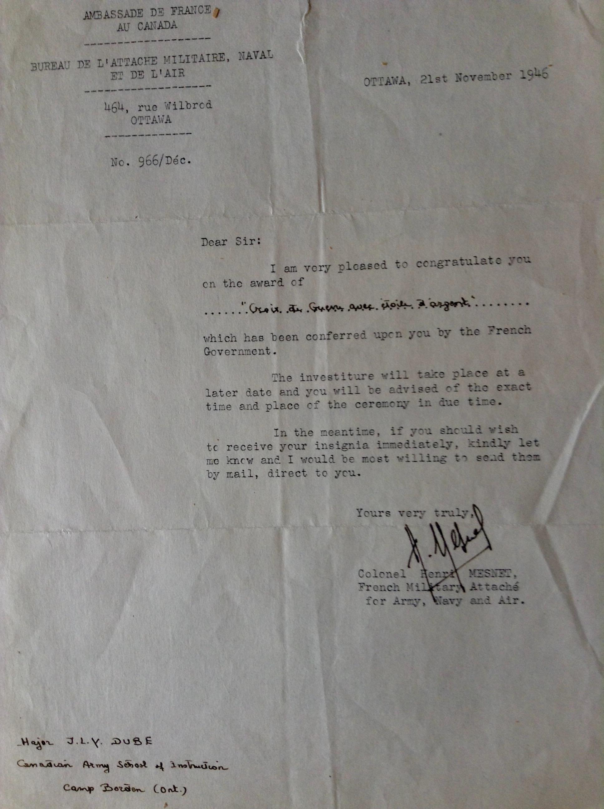 Lettre (21 Novembre 1946)