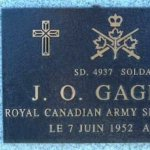 Memorial Plaque– This memorial plaque is mounted on the Wall of Remembrance at the Meadowvale Cemetery, in Brampton, Ontario.