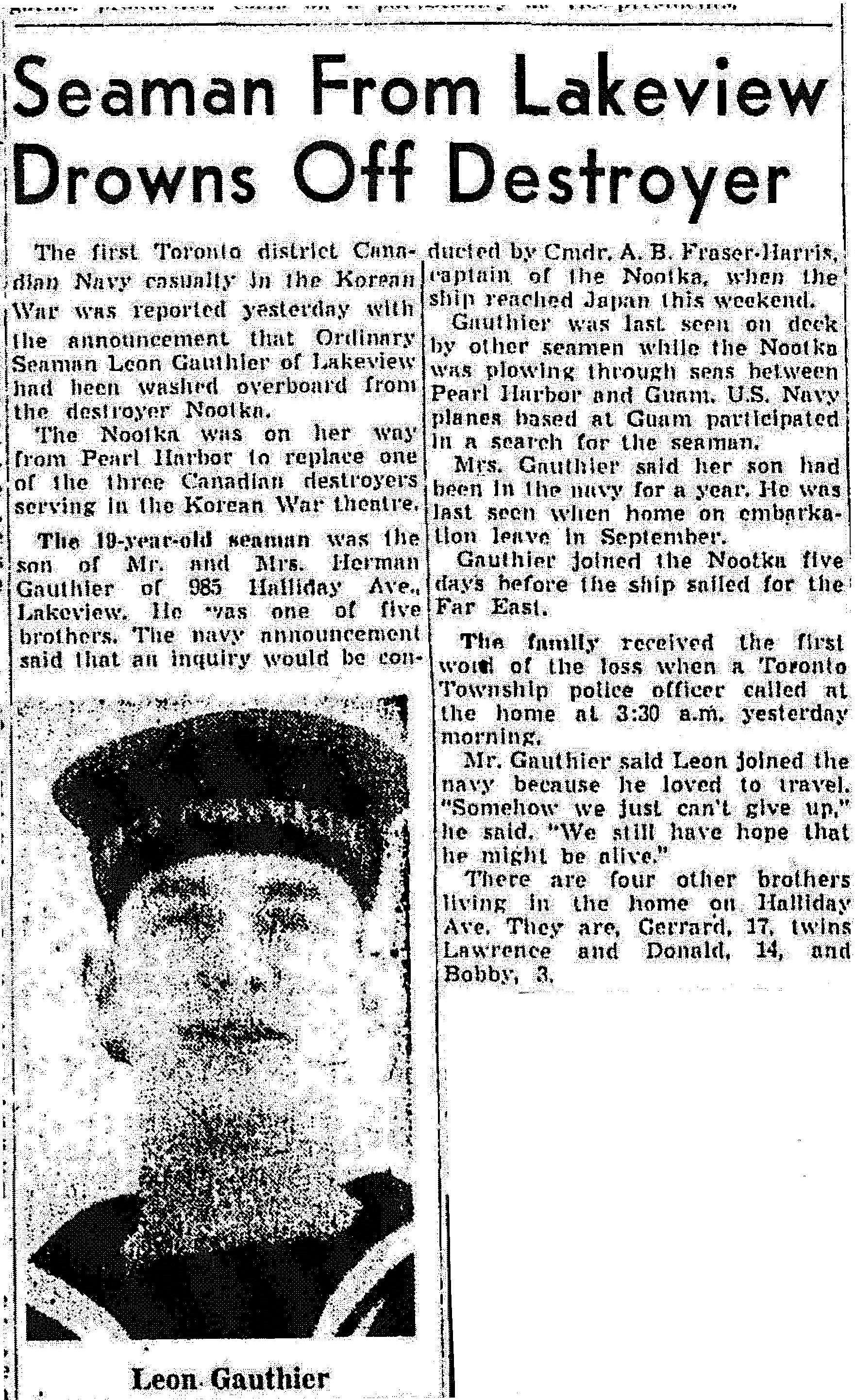Newspaper Clipping– This news report appeared in the Globe and Mail newspaper, at page 5, on January 13, 1951.  (Submitted by Navy League Cadet Corps CHAMBLY, Barrie, Ontario.)
