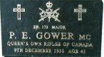 Memorial Plaque– Memorial marker honouring Major Gower at the Korean War Wall of Remembrance, Meadowvale Cemetery, Brampton, Ontario.       Courtesy of Craig B. Cameron