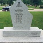 Monument– Reverse of Korean War Veterans War Memorial.  It is a memorial to the victims of the Canoe River crash. The monument is located in the Brookside Cemetery in Winnipeg, Manitoba.